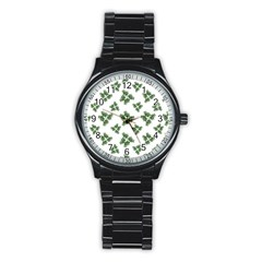 Nature Motif Pattern Design Stainless Steel Round Watch