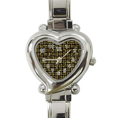 Woven1 Black Marble & Gold Foil Heart Italian Charm Watch