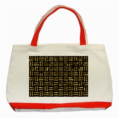 Woven1 Black Marble & Gold Foil Classic Tote Bag (red)