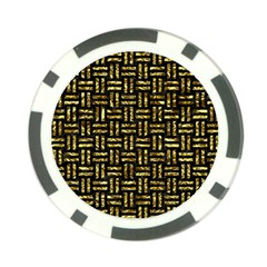 Woven1 Black Marble & Gold Foil Poker Chip Card Guard