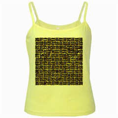 Woven1 Black Marble & Gold Foil (r) Yellow Spaghetti Tank