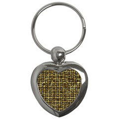 Woven1 Black Marble & Gold Foil (r) Key Chains (heart)