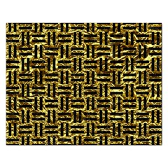 Woven1 Black Marble & Gold Foil (r) Rectangular Jigsaw Puzzl