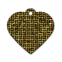 Woven1 Black Marble & Gold Foil (r) Dog Tag Heart (one Side)