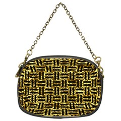 Woven1 Black Marble & Gold Foil (r) Chain Purses (one Side)