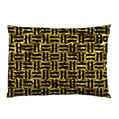 Woven1 Black Marble & Gold Foil (r) Pillow Case
