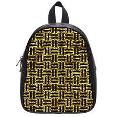 Woven1 Black Marble & Gold Foil (r) School Bag (small)