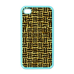 Woven1 Black Marble & Gold Foil (r) Apple Iphone 4 Case (color)