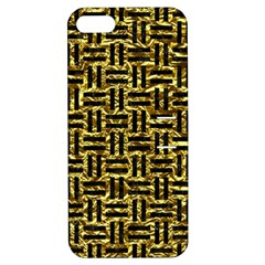 Woven1 Black Marble & Gold Foil (r) Apple Iphone 5 Hardshell Case With Stand
