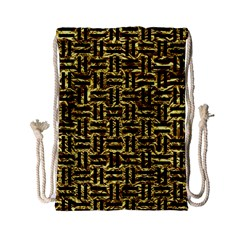 Woven1 Black Marble & Gold Foil (r) Drawstring Bag (small)