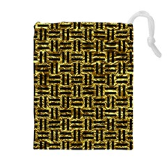 Woven1 Black Marble & Gold Foil (r) Drawstring Pouches (extra Large)