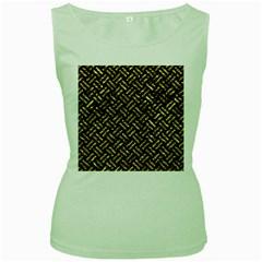 Woven2 Black Marble & Gold Foil Women s Green Tank Top