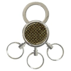 Woven2 Black Marble & Gold Foil 3 Ring Key Chains