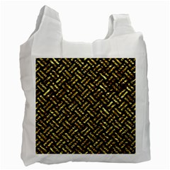 Woven2 Black Marble & Gold Foil Recycle Bag (two Side)