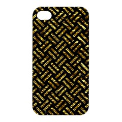 Woven2 Black Marble & Gold Foil Apple Iphone 4/4s Premium Hardshell Case