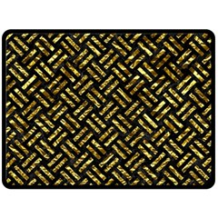 Woven2 Black Marble & Gold Foil Double Sided Fleece Blanket (large)