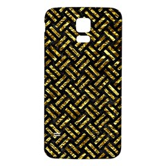 Woven2 Black Marble & Gold Foil Samsung Galaxy S5 Back Case (white)