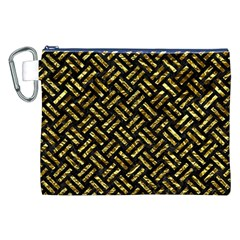 Woven2 Black Marble & Gold Foil Canvas Cosmetic Bag (xxl)