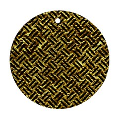 Woven2 Black Marble & Gold Foil (r) Ornament (round)