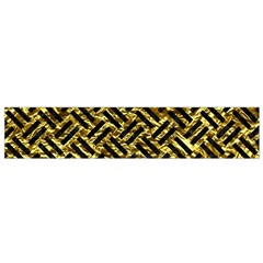 Woven2 Black Marble & Gold Foil (r) Flano Scarf (small)