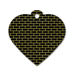 Brick1 Black Marble & Gold Glitter Dog Tag Heart (two Sides)