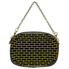 Brick1 Black Marble & Gold Glitter Chain Purses (two Sides)