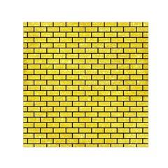 Brick1 Black Marble & Gold Glitter (r) Small Satin Scarf (square)