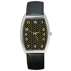 Brick2 Black Marble & Gold Glitter Barrel Style Metal Watch