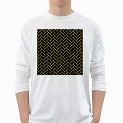 Brick2 Black Marble & Gold Glitter White Long Sleeve T Shirts