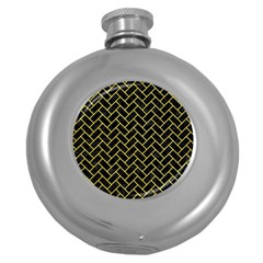 Brick2 Black Marble & Gold Glitter Round Hip Flask (5 Oz)