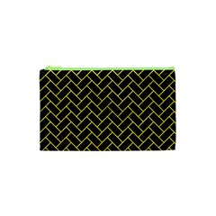 Brick2 Black Marble & Gold Glitter Cosmetic Bag (xs)