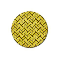 Brick2 Black Marble & Gold Glitter (r) Rubber Round Coaster (4 Pack)