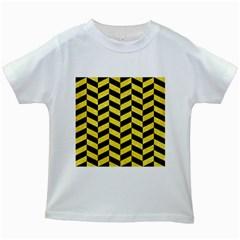 Chevron1 Black Marble & Gold Glitter Kids White T Shirts