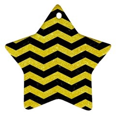 Chevron3 Black Marble & Gold Glitter Ornament (star)