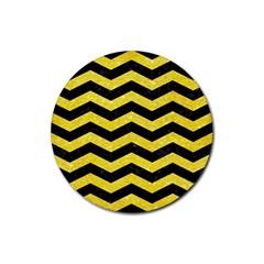 Chevron3 Black Marble & Gold Glitter Rubber Coaster (round)