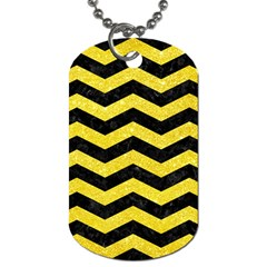 Chevron3 Black Marble & Gold Glitter Dog Tag (one Side)