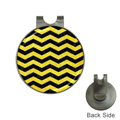Chevron3 Black Marble & Gold Glitter Hat Clips With Golf Markers