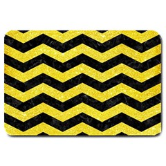 Chevron3 Black Marble & Gold Glitter Large Doormat