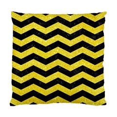 Chevron3 Black Marble & Gold Glitter Standard Cushion Case (one Side)