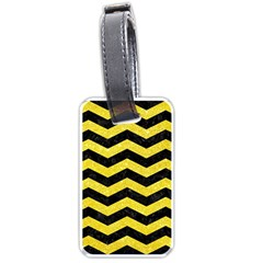 Chevron3 Black Marble & Gold Glitter Luggage Tags (one Side)