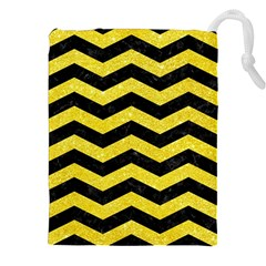 Chevron3 Black Marble & Gold Glitter Drawstring Pouches (xxl)