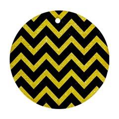 Chevron9 Black Marble & Gold Glittere & Gold Glitter Ornament (round)