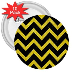 Chevron9 Black Marble & Gold Glittere & Gold Glitter 3  Buttons (10 Pack)