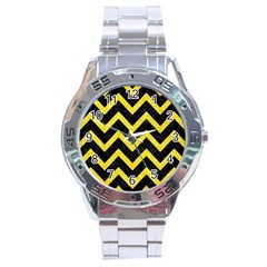 Chevron9 Black Marble & Gold Glittere & Gold Glitter Stainless Steel Analogue Watch