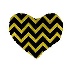 Chevron9 Black Marble & Gold Glittere & Gold Glitter Standard 16  Premium Heart Shape Cushions