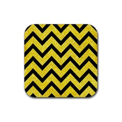 Chevron9 Black Marble & Gold Glitter (r) Rubber Coaster (square)
