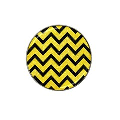 Chevron9 Black Marble & Gold Glitter (r) Hat Clip Ball Marker