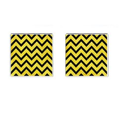 Chevron9 Black Marble & Gold Glitter (r) Cufflinks (square)