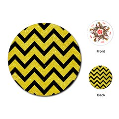Chevron9 Black Marble & Gold Glitter (r) Playing Cards (round)