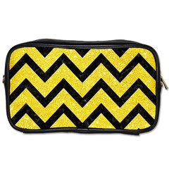 Chevron9 Black Marble & Gold Glitter (r) Toiletries Bags 2 Side